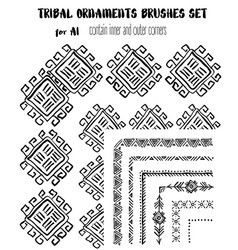 hand-drawn ethnic ornamental brushes set vector image