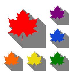 maple leaf sign set of red orange yellow green vector image