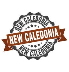 New caledonia round ribbon seal vector