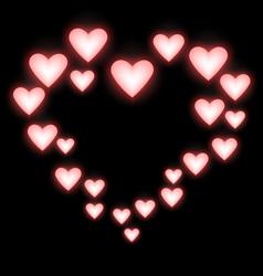 Self-illuminated pink hearts like frame on black vector image