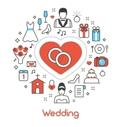 Wedding Party Thin Line Icons Set vector image