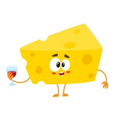 cute and funny cheese chunk character holding vector image
