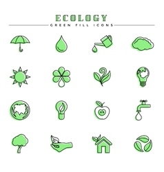 Ecology green fill icons set vector image vector image