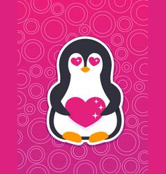 emoji sticker with pinguin in love vector image