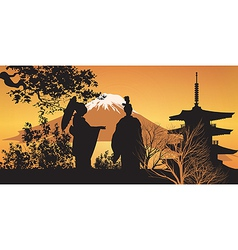 Geisha and Pagoda vector image