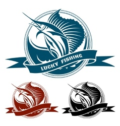 Nautical retro label with jumping sail fish vector image