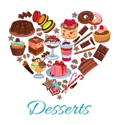 Sweet heart shape with desserts elements vector image