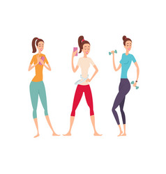 three shapely friends with fitness gadgets posing vector image