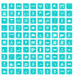 100 comfortable house icons set grunge blue vector image