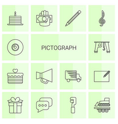 14 pictograph icons vector image