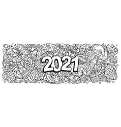 2021 doodles horizontal new year objects and vector image