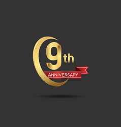 9 years anniversary logo style with swoosh ring vector