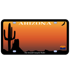 Arizona state license plate vector