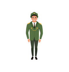 army officer in formal wear green jacket pants vector image