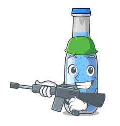 Army soda water and ice cubes cartoon vector