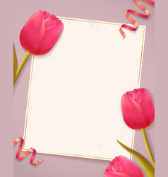 background with tulips and blank paper vector image