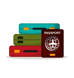 Baggage and passport to travel design vector