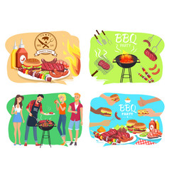 Barbecue party with roasted meet set vector