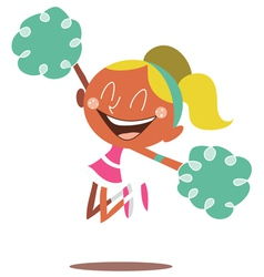 Blond cheerleader jumping and cheering vector image