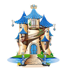 blue fairytale castle vector image