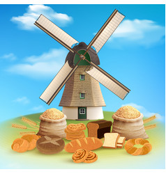 Bread and mill background vector