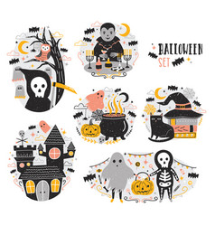 Bundle halloween scenes with funny and spooky vector