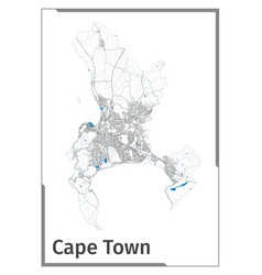 Cape town map poster administrative area plan vector