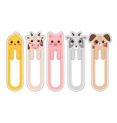 Cartoon kawaii bookmarks with animals vector