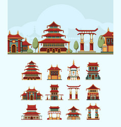 china houses traditional east buildings beautiful vector image