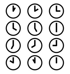 clocks hours symbols icons simple black white set vector image