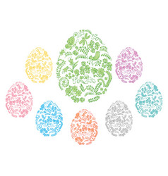 color and floral ornamental easter eggs vector image