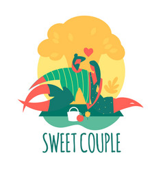 couple in love man and girl on romantic picnic vector image