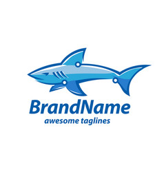 creative tech and shark logo concept vector image