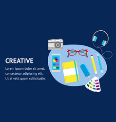 creative website flat banner template vector image