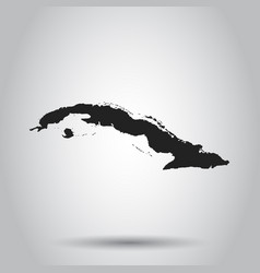 Cuba map black icon on white background vector