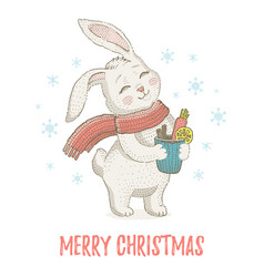 cute christmas rabbit in scarf winter animal for vector image