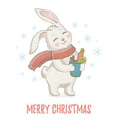 Cute christmas rabbit in scarf winter animal vector