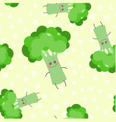Cute seamless pattern with happy smiling broccoli vector