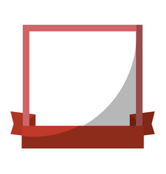 Decorative frame with ribbon icon vector