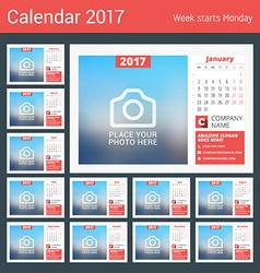 Desk calendar for 2017 year print template with vector image