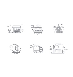different buildings icon set for real estate vector image