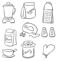 Doodle of hand draw kitchen set vector