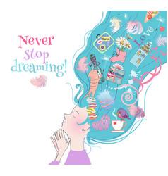 dreamy girl card vector image