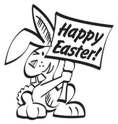 Easter bunny with sign vector image
