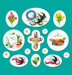 easter egg cartoon sticker and label set design vector image