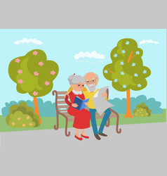 Elderly couple sitting on the park bench and read vector
