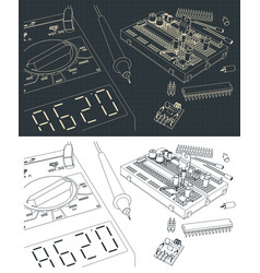 Electronics components kit drawings vector