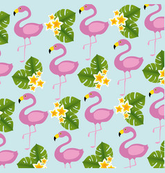 Exotic flamingos birds and flowers pattern vector