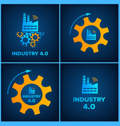 factory and gears icon industry 40 concept set vector image