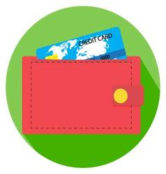 Flat icon wallet with money vector